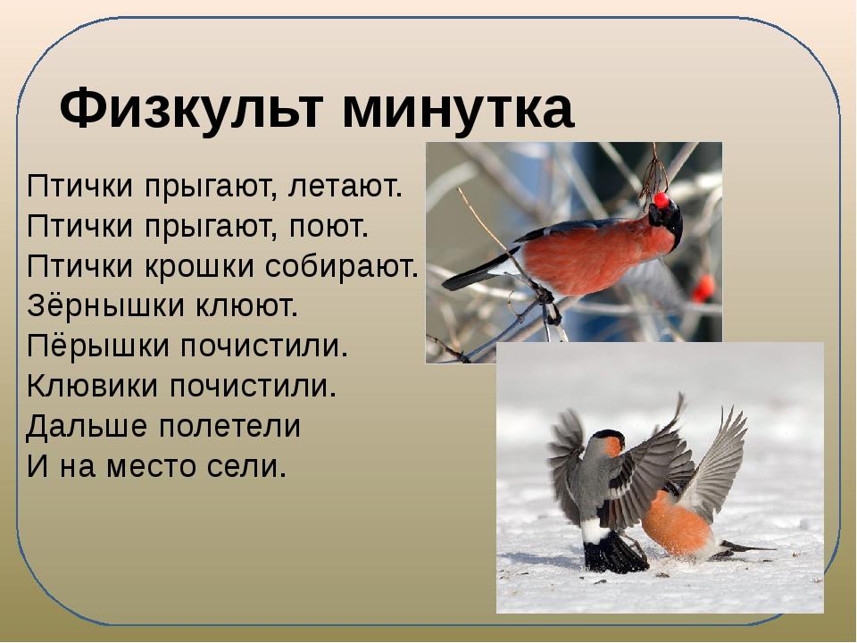 Птички прыгают, летают. Птички прыгают, поют. Птички крошки собирают. Зёрныш...