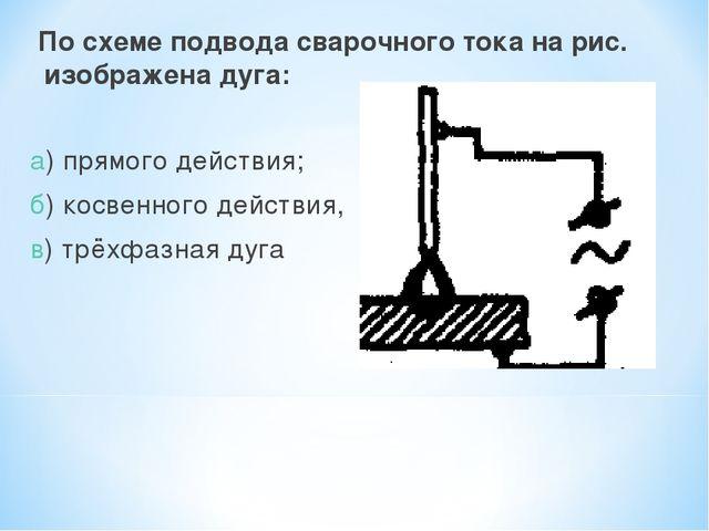 По схеме подвода сварочного тока на рис. изображена дуга: а) прямого действи...