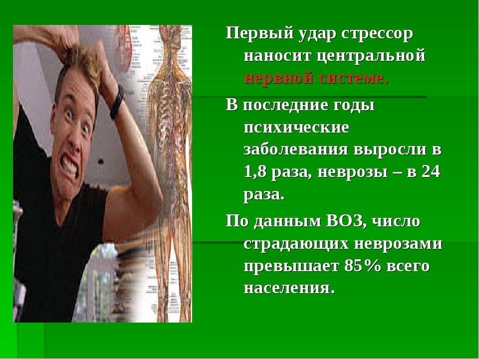 Первый удар стрессор наносит центральной нервной системе. В последние годы пс...