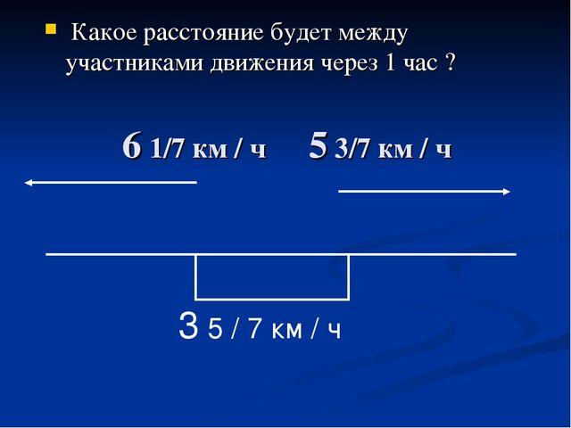 6 1/7 км / ч 5 3/7 км / ч Какое расстояние будет между участниками движения ч...