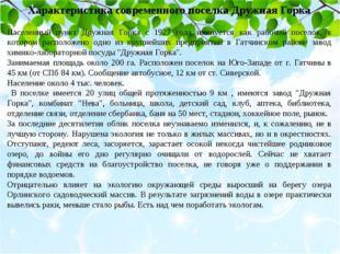 Характеристика современного поселка Дружная Горка Населенный пункт Дружная Го