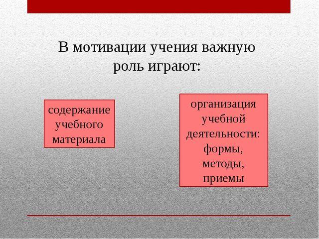 В мотивации учения важную роль играют: содержание учебного материала организа...