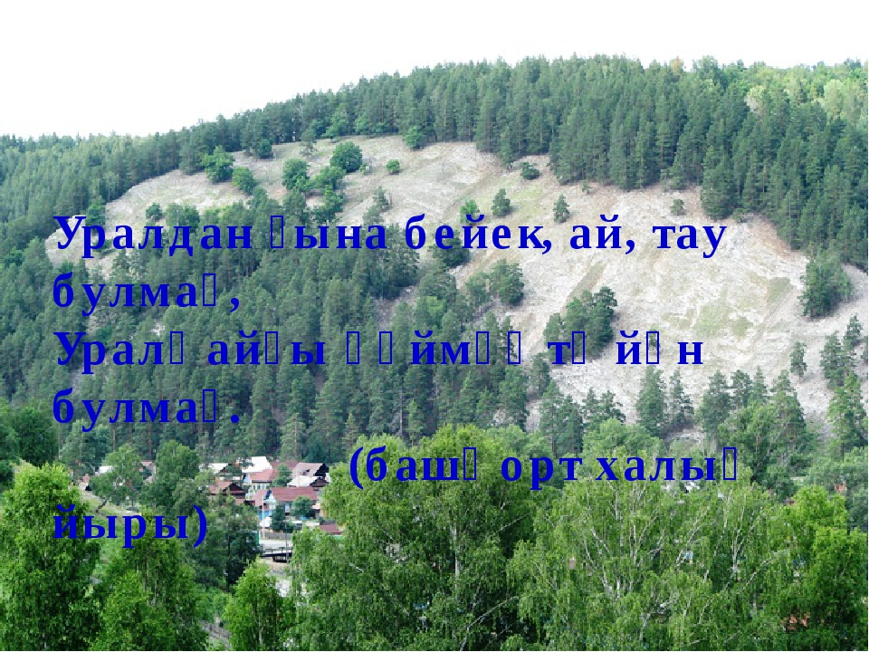 Уралдан ғына бейек, ай, тау булмаҫ, Уралҡайҙы һөймәҫ тә йән булмаҫ. (башҡорт...