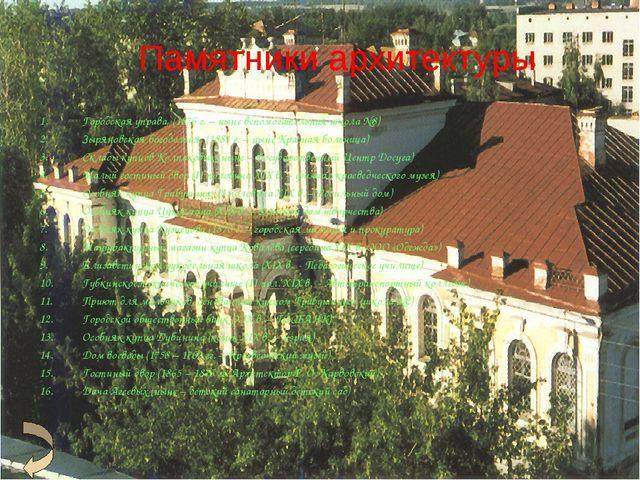 Памятники архитектуры Городская управа, (1876 г. – ныне вспомогательная школа...
