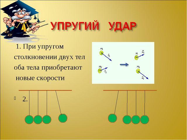 1. При упругом столкновении двух тел оба тела приобретают новые скорости 2.