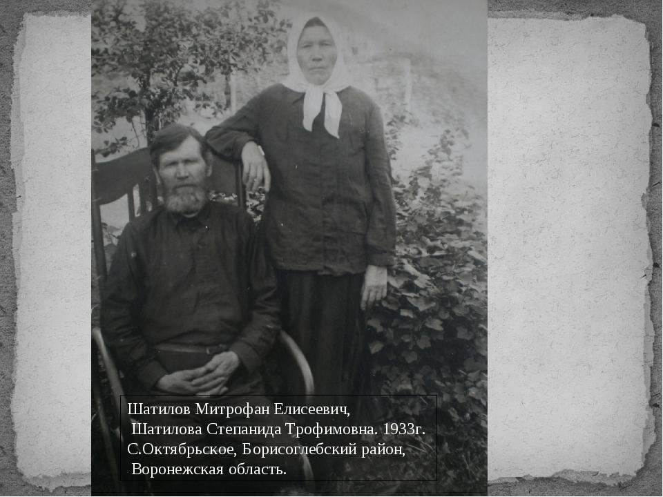 Шатилов Митрофан Елисеевич, Шатилова Степанида Трофимовна. 1933г. С.Октябрьс...