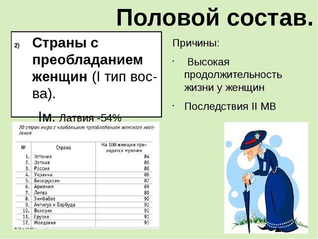 Страны с преобладанием женщин (I тип вос-ва). Iм. Латвия -54% Украина, Эстони...