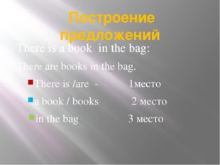 Построение предложений There is a book in the bag: There are books in the ba
