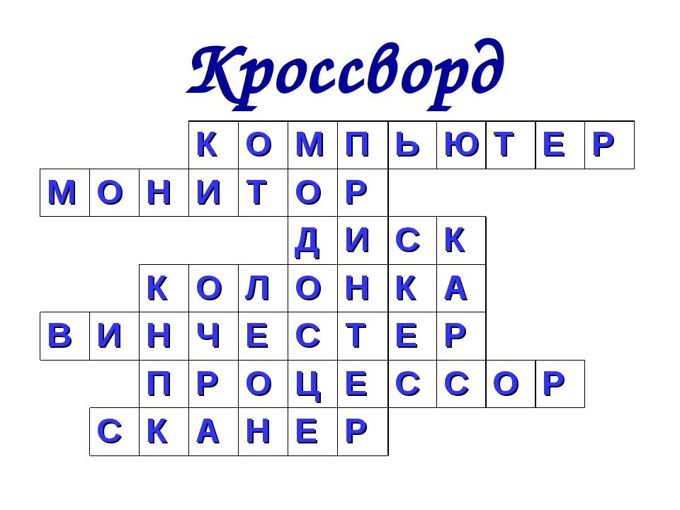 Кроссворд КОМПЬЮТЕР МОНИТОР ДИСК КОЛОН...