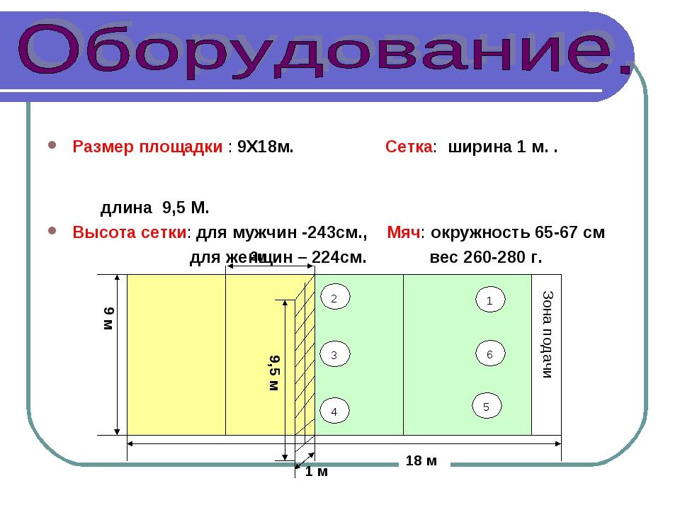 Размер площадки : 9Х18м. Сетка: ширина 1 м. .  длина 9,5 М. Высота сетк...