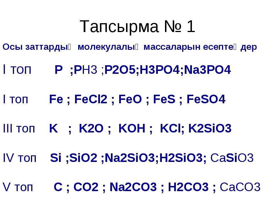 Тапсырма № 1 Осы заттардың молекулалық массаларын есептеңдер І топ P ;PH3 ;P2...