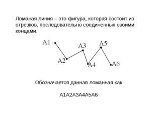 Ломаная линия – это фигура, которая состоит из отрезков, последовательно соед