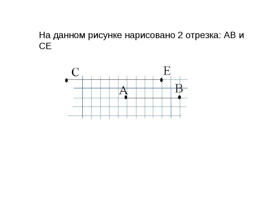 На данном рисунке нарисовано 2 отрезка: АВ и СЕ