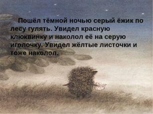 Пошёл тёмной ночью серый ёжик по лесу гулять. Увидел красную клюквинку и нак