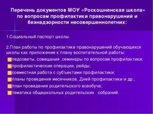 Перечень документов МОУ «Роскошненская школа» по вопросам профилактики право
