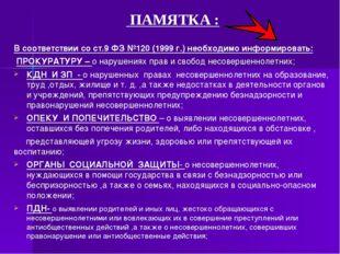 ПАМЯТКА :  В соответствии со ст.9 ФЗ №120 (1999 г.) необходимо информироват
