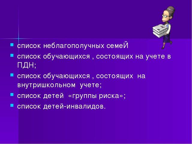 список неблагополучных семеЙ список обучающихся , состоящих на учете в ПДН; с...