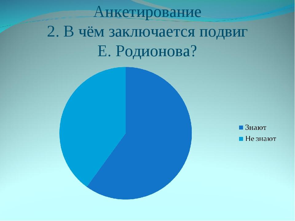Анкетирование 2. В чём заключается подвиг Е. Родионова?