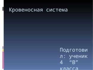 """Кровеносная система Подготовил: ученик 4 """"В"""" класса МБОУ СОШ №38 Краснодар Ма"""