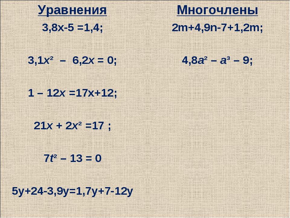 Уравнения 3,8х-5 =1,4; 3,1х² – 6,2х = 0; 1 – 12х =17х+12; 21х + 2х² =17 ; 7...