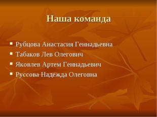 Наша команда Рубцова Анастасия Геннадьевна Табаков Лев Олегович Яковлев Артем