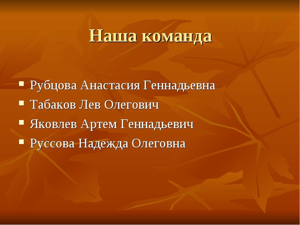 Наша команда Рубцова Анастасия Геннадьевна Табаков Лев Олегович Яковлев Артем...