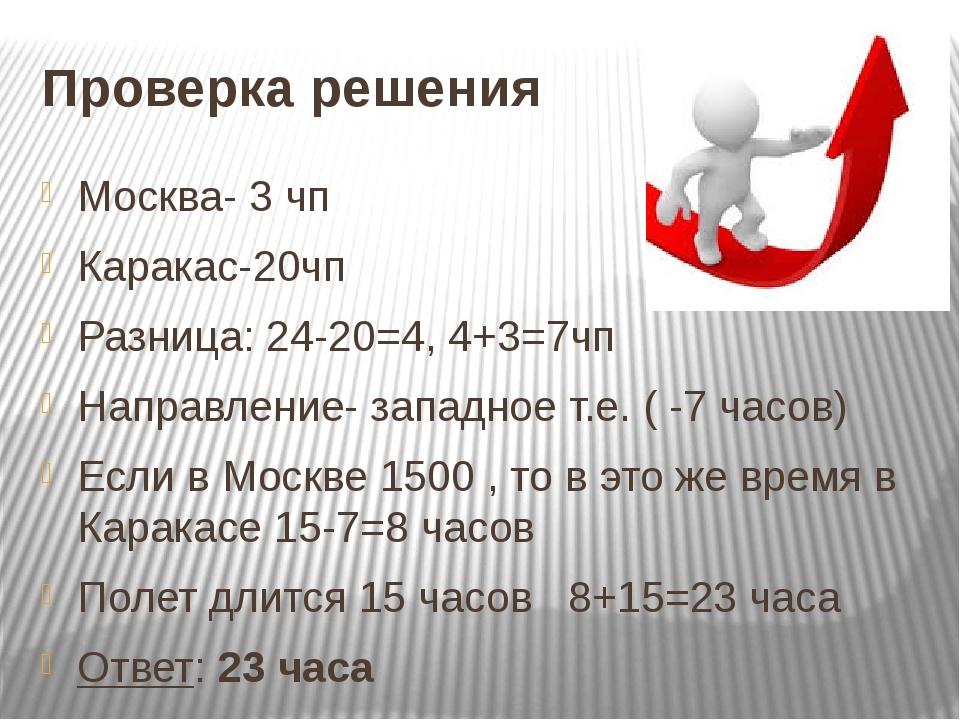 Проверка решения Москва- 3 чп Каракас-20чп Разница: 24-20=4, 4+3=7чп Направле...