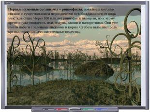 Первые наземныеорганизмы – риниофиты, появление которых связано с существова