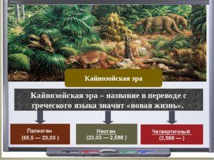 Палеоген (65,5 — 23,03 ) Неоген (23,03 — 2,588 ) Кайнозойская эра Четвертичн
