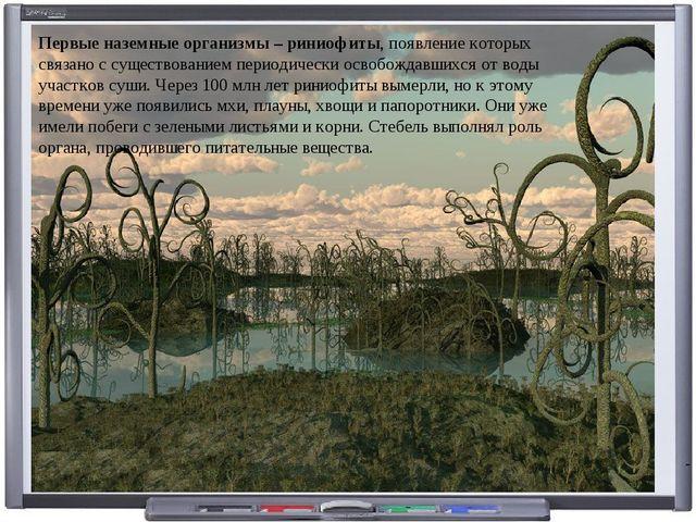 Первые наземныеорганизмы – риниофиты, появление которых связано с существова...