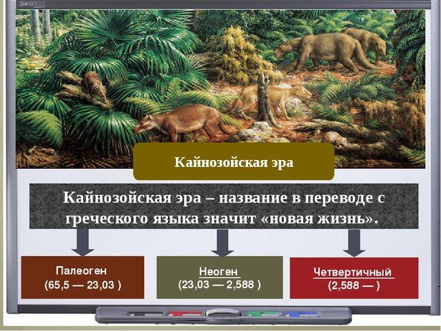 Палеоген (65,5 — 23,03 ) Неоген (23,03 — 2,588 ) Кайнозойская эра Четвертичн...
