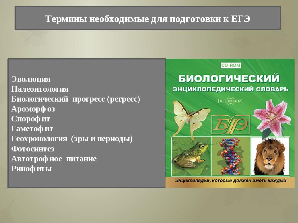 Термины необходимые для подготовки к ЕГЭ Эволюция Палеонтология Биологический...