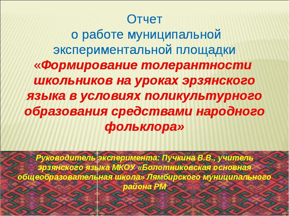 Отчет о работе муниципальной экспериментальной площадки «Формирование толеран...