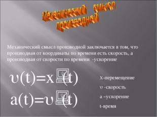 Механический смысл производной заключается в том, что производная от координа