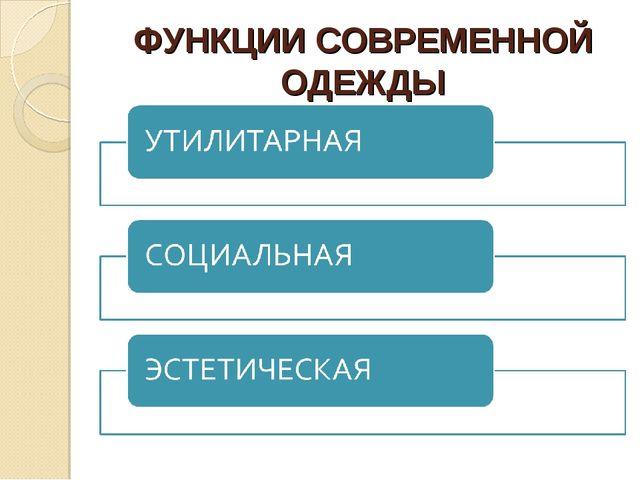 ФУНКЦИИ СОВРЕМЕННОЙ ОДЕЖДЫ