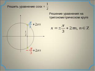 Решить уравнение cosx = Решение уравнения на тригонометрическом круге