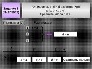 О числах a, b, c и d известно, что a=b, bc . Сравнитe числа d и a. Задание 8