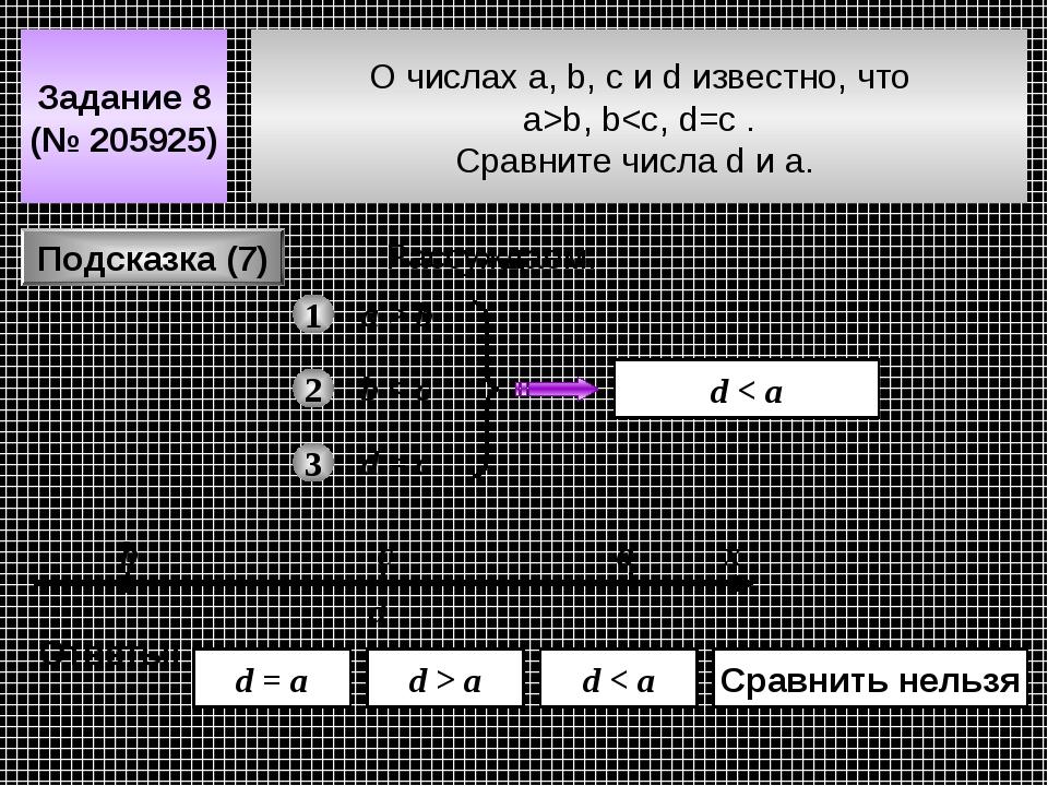 О числах a, b, c и d известно, что a>b, b b 2 b < c 3 d = c d d < a d > a d = a