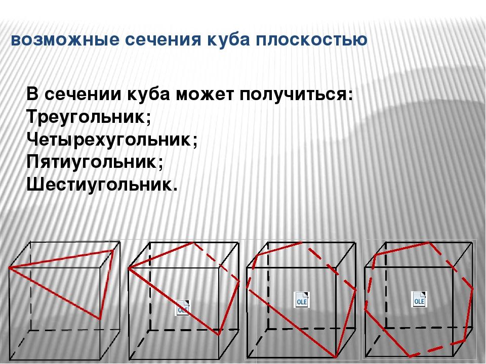 возможные сечения куба плоскостью В сечении куба может получиться: Треугольни...