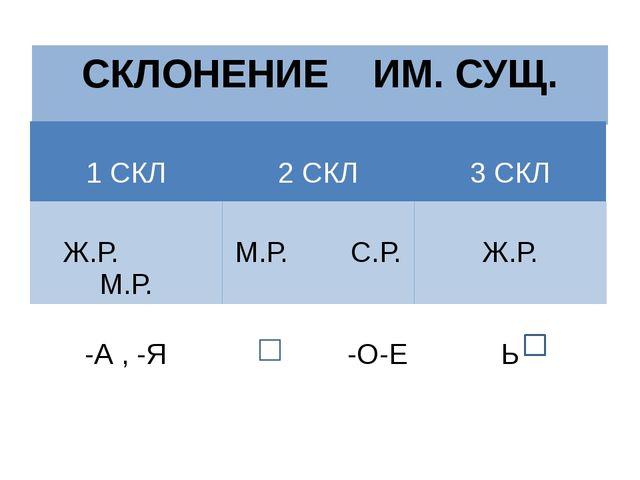 СКЛОНЕНИЕ ИМ. СУЩ. 1 СКЛ 2 СКЛ 3 СКЛ Ж.Р. М.Р. М.Р. С.Р. Ж.Р. -А , -Я -О-Е Ь
