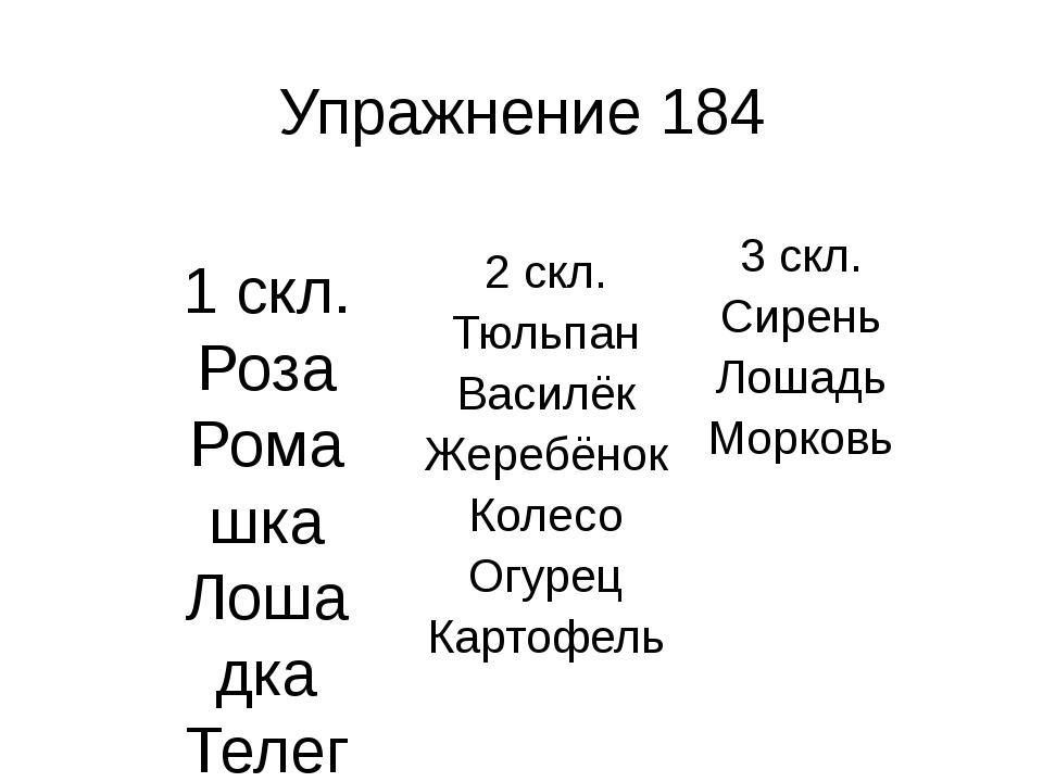 Упражнение 184 1 скл. Роза Ромашка Лошадка Телега Морковка Картошка 3 скл. Си...