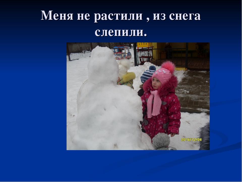 Меня не растили , из снега слепили.