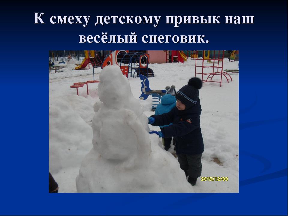 К смеху детскому привык наш весёлый снеговик.