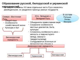 Образование русской, белорусской и украинской народностей. Со второй половины