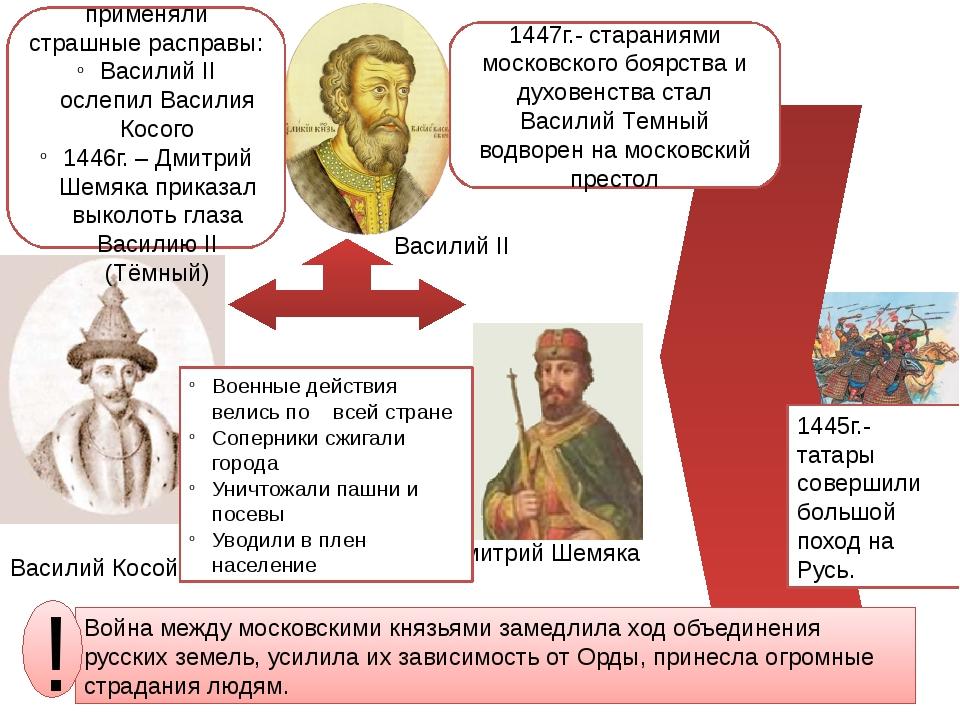 Василий Косой Дмитрий Шемяка Военные действия велись по всей стране Соперники...