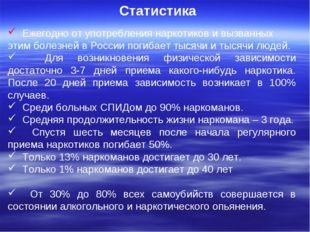 Статистика Ежегодно от употребления наркотиков и вызванных этим болезней в Р