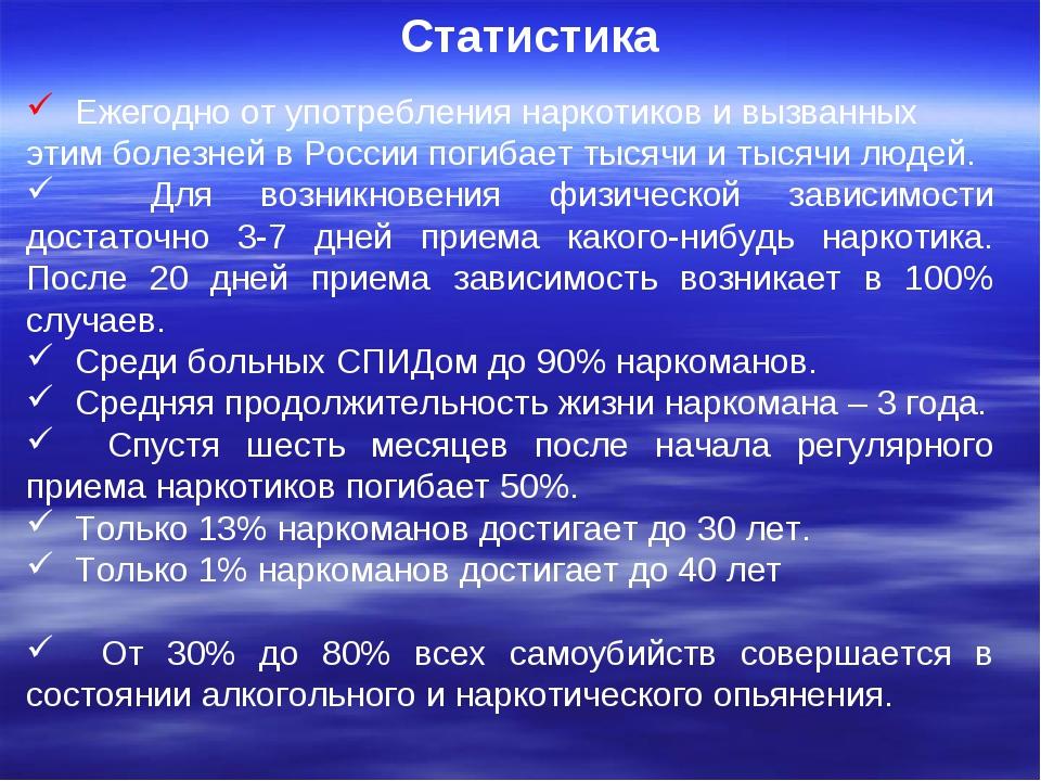 Статистика Ежегодно от употребления наркотиков и вызванных этим болезней в Р...