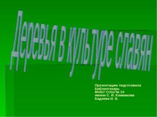 Презентацию подготовила Библиотекарь МОБУ СОШ № 24 имени С. И. Климакова Бадя