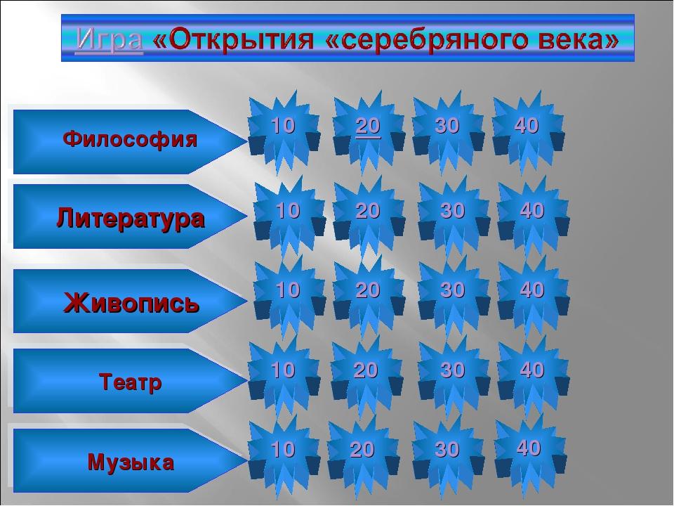 10 Философия 20 30 40 10 Литература 20 30 40 10 20 30 40 10 20 30 40 10 20 30...