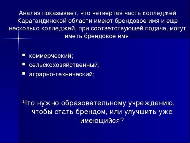 Анализ показывает, что четвертая часть колледжей Карагандинской области имеют...